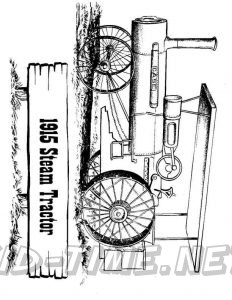3 Valley Gap Hotel & Ghost Town Coloring Sheet - 1915 Steam Tractor