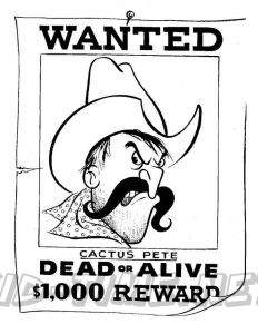 3 Valley Gap Hotel & Ghost Town Coloring Sheet - Jail Wanted Poster