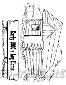 3 Valley Gap Hotel & Ghost Town Coloring Sheet - Early 1900 Log Home