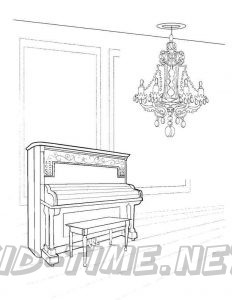 3 Valley Gap Hotel & Ghost Town Coloring Sheet - Piano and Chandelier