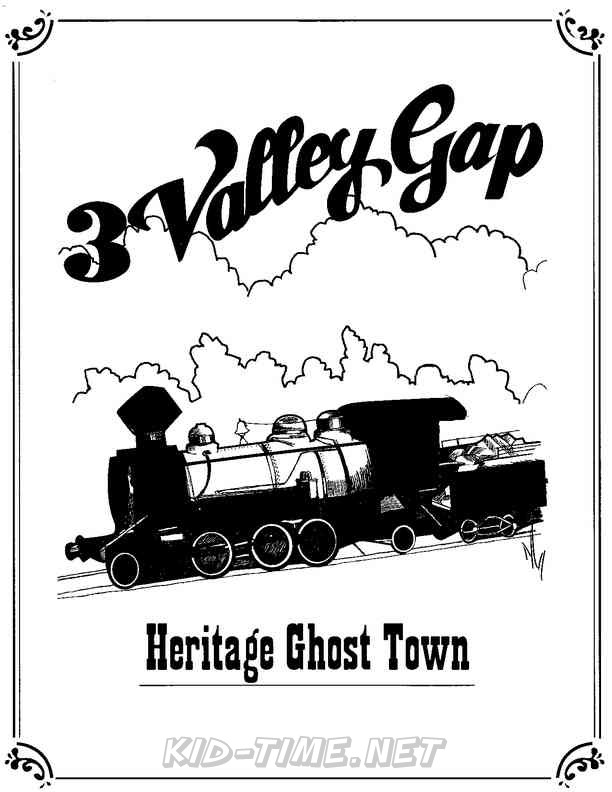3 Valley Gap Hotel & Ghost Town Coloring Sheet - Train Engine