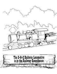 3 Valley Gap Hotel & Ghost Town Coloring Sheet - Railway Train locomotive