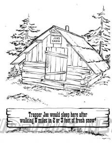 3 Valley Gap Hotel & Ghost Town Coloring Sheet - Trapper Joe's Cabin